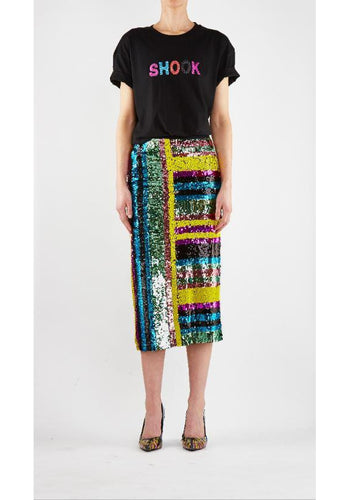 Multi Sequin Stripe Skirt Yellow Magenta - Empire Rose