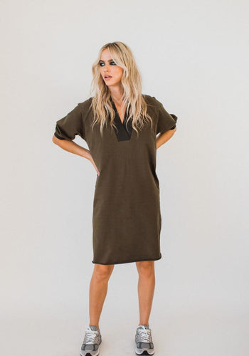 Olympia S/S V-neck Sweater Dress KHAKI