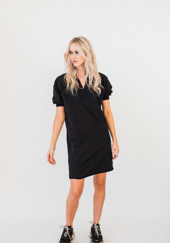 Olympia S/S V-neck Sweater Dress BLACK