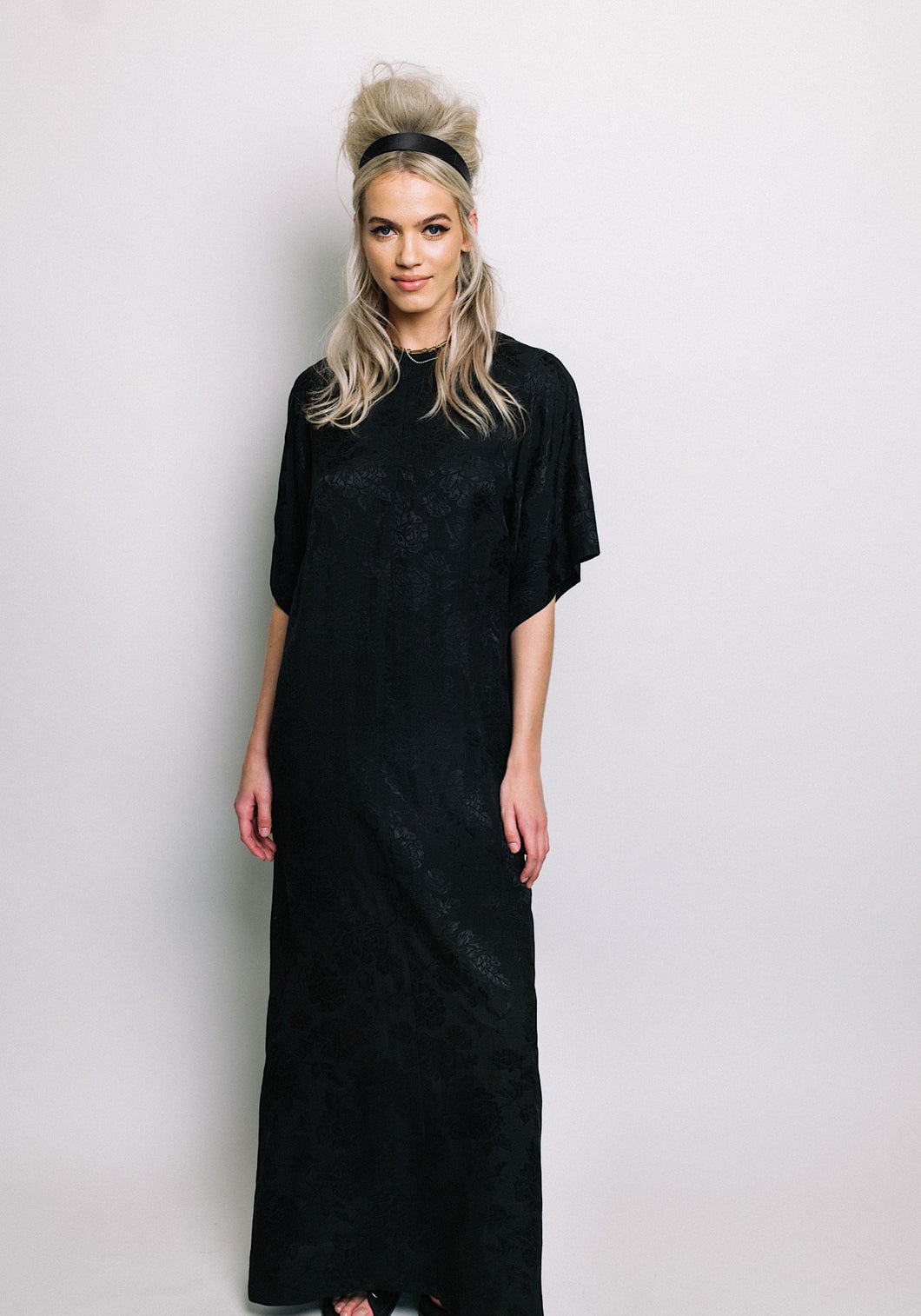 Kimono Sleeve Dress Black Rose