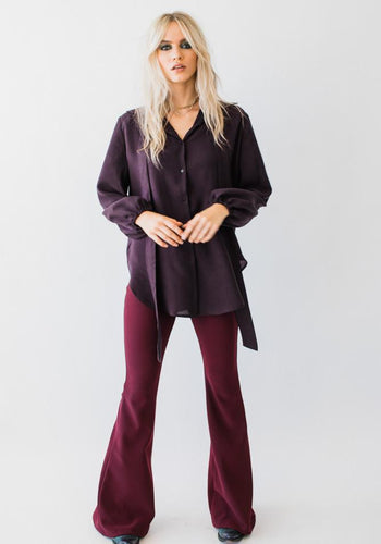 Pussybow Blouse Deep Purple