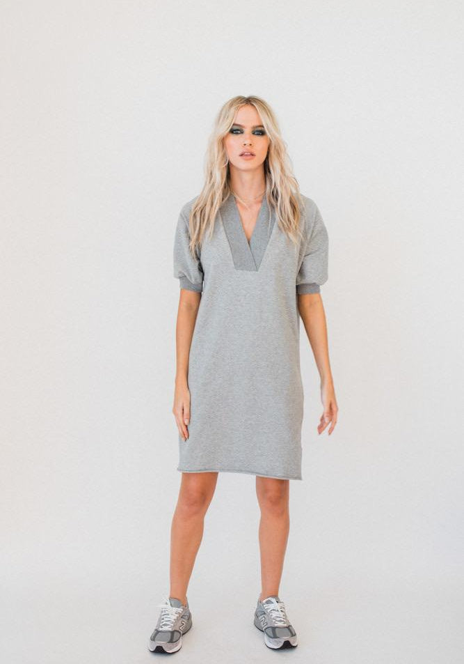 Olympia S/S V-neck Sweater Dress GREY MARLE
