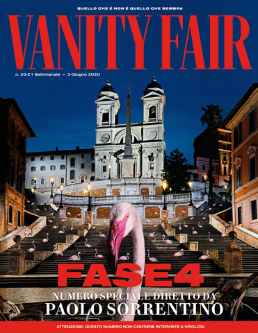 Vanity Fair magazine Italy May 2020 PAOLO SORRENTINO Lockdown thematic PINK FLAMINGO Cover
