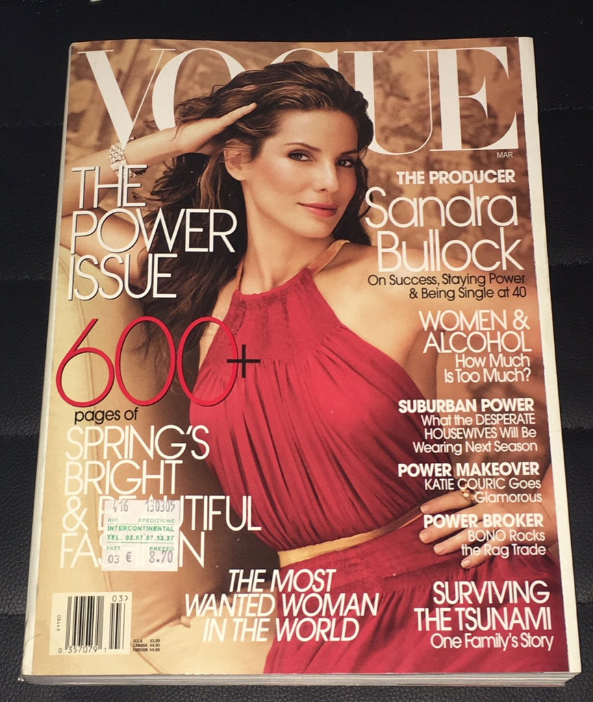 VOGUE US Magazine March 2005 SANDRA BULLOCK Liya Kebede DARIA WERBOWY Lisa Cant