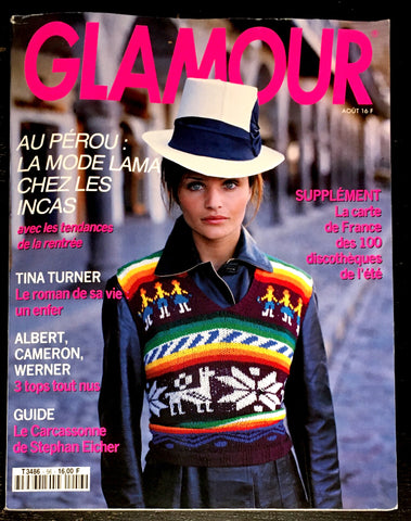GLAMOUR France Magazine August 1993 HELENA CHRISTENSEN Patricia Velasquez DELEGUE