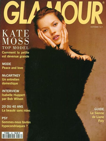 GLAMOUR France Magazine October 1993 KATE MOSS Yasmin Le Bon ISABELLE HUPPERT