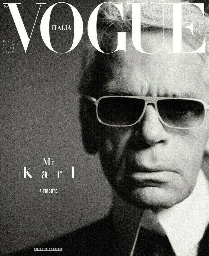 VOGUE Italia Magazine March 2019 Tribute To KARL LAGERFELD by STEVEN MEISEL