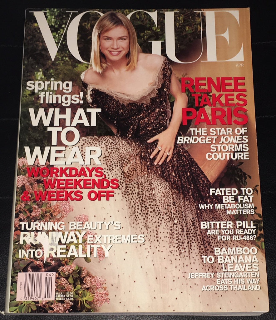 VOGUE US Magazine April 2001 RENEE ZELLWEGER Gisele Bundchen ANGELA LINDVALL