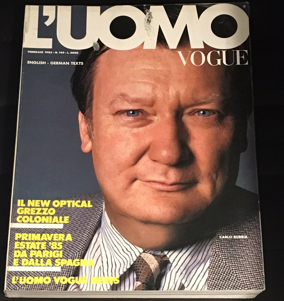 L'UOMO VOGUE Magazine February 1985 CARLO RUBBIA VINTAGE Men's Fashion