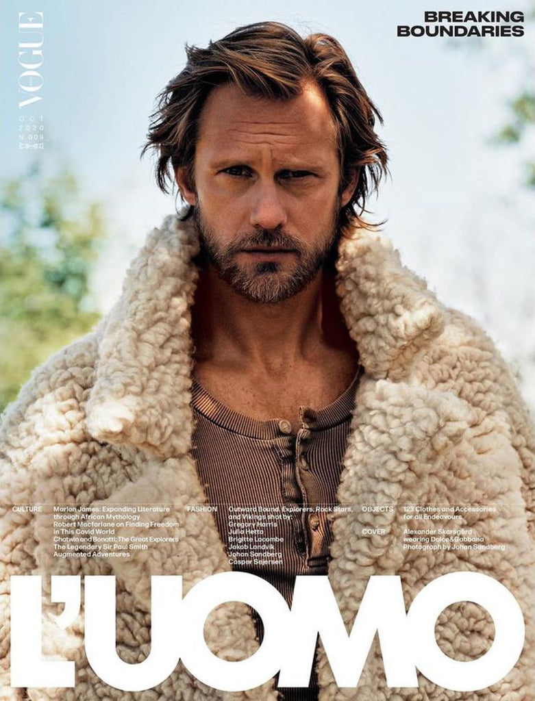 L'Uomo Vogue Magazine October 2020 ALEXANDER SKARSGARD by JOHAN SANDBERG