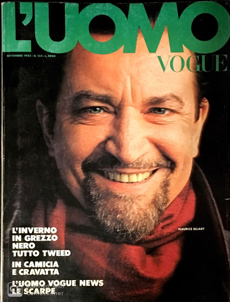 L'UOMO VOGUE Magazine September 1983 MAURICE BEJART Oliviero Toscani VINTAGE Men's Fashion