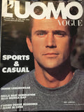 L'UOMO VOGUE Vintage Magazine May 1991 MEL GIBSON Barechest Male Model
