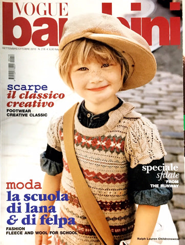 VOGUE BAMBINI Kids Children Enfant Fashion ITALIA Magazine September 2010