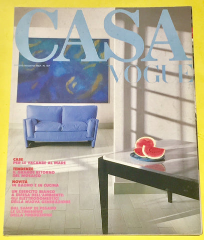 CASA VOGUE Magazine Italy August 1987 Issue #187 Vintage