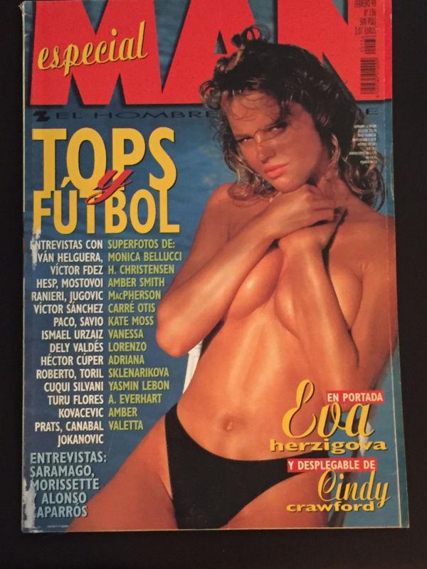 MAN Magazine Spain 1999 EVA HERZIGOVA Cindy Crawford YASMIN LE BON Kate Moss