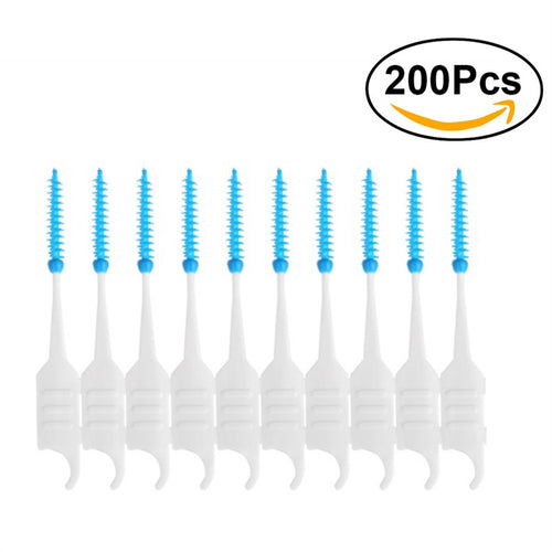 200pcs Dental Floss Interdental Brush Teeth Stick Toothpick Soft Silicone Double-ended Tooth Picks