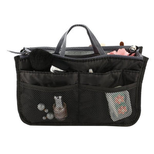 Multifunctional Double Zipper Polyester Makeup Bag Portable Travel Beauty Cosmetic Bag Make Up Toiletry Bag With Handle Set