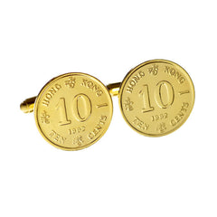 Elizabeth II & Bauhinia Ten cents coin cufflinks - small