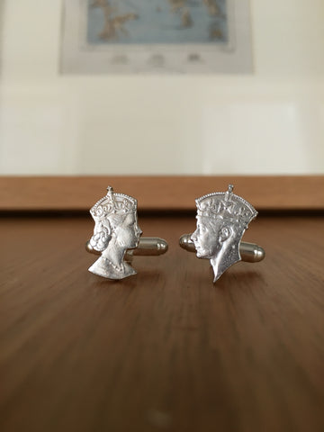 George VI & Elizabeth II Fifty cent silhouette cufflinks