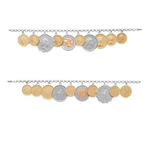 Hong Kong coins on sterling silver bracelet