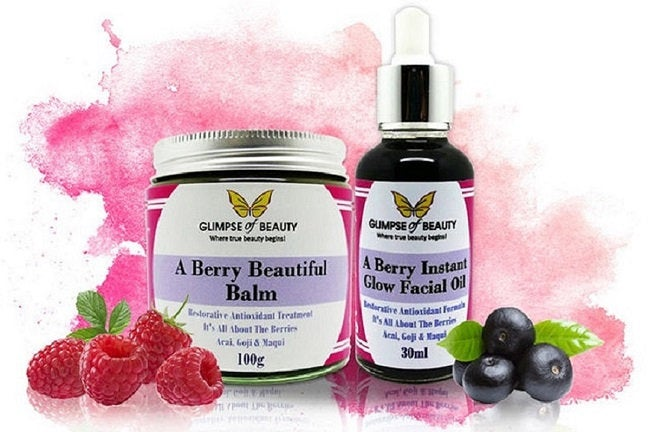 Berry Beauty Balm & Facial Oil Combo. Goji Berry Oil, Acai Berry Oil, Maqui Berry Oil