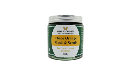 Choco Orange Facial clay Mask And Scrub. Bamboo, Activated charcoal, Bentonite clay (indian healing clay), Zeolite clay