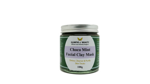 Choco Mint Facial Clay Mask. Zeolite clay, Bentonite Clay (Indian healing clay), Moroccan rhassoul clay, Spirulina.