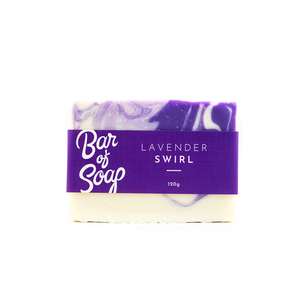 A lavender and white Bar of Soap with a Lavender Swirl Bar of soap label