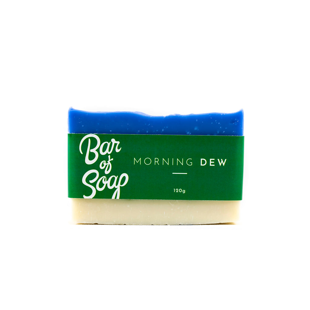A layered blue, green and white Bar of Soap with a morning dew Bar of Soap label.
