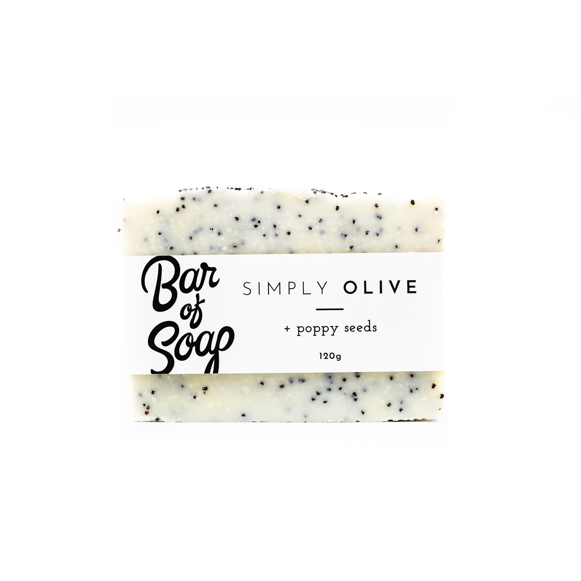 A simple and white pure olive oil bar of soap with poppy seeds mixed throughout. The bar is wrapped with a Simply Olive + Poppy Seeds of Soap label.