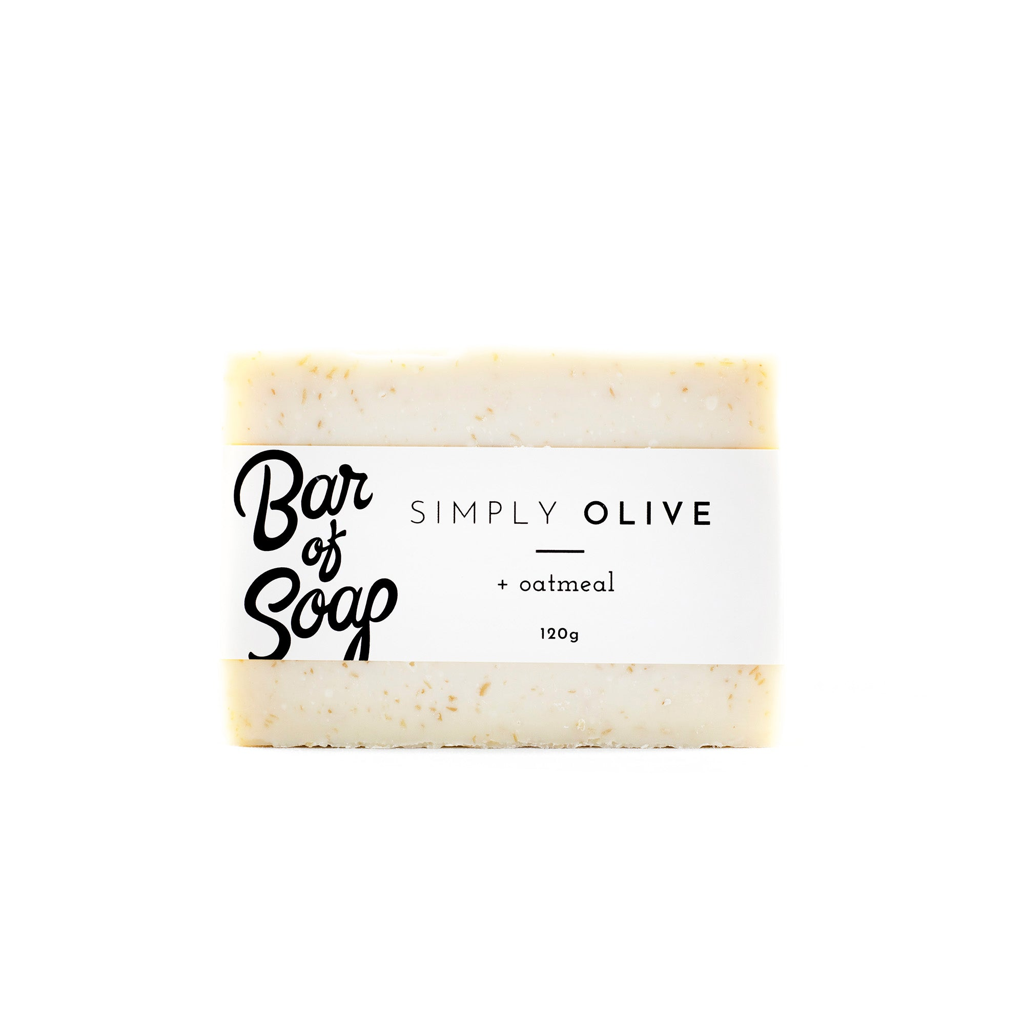 A simple and white pure olive oil bar of soap with little speck of oatmeal throughout. The bar is wrapped with a Simply Olive + Oatmeal Bar of Soap label.