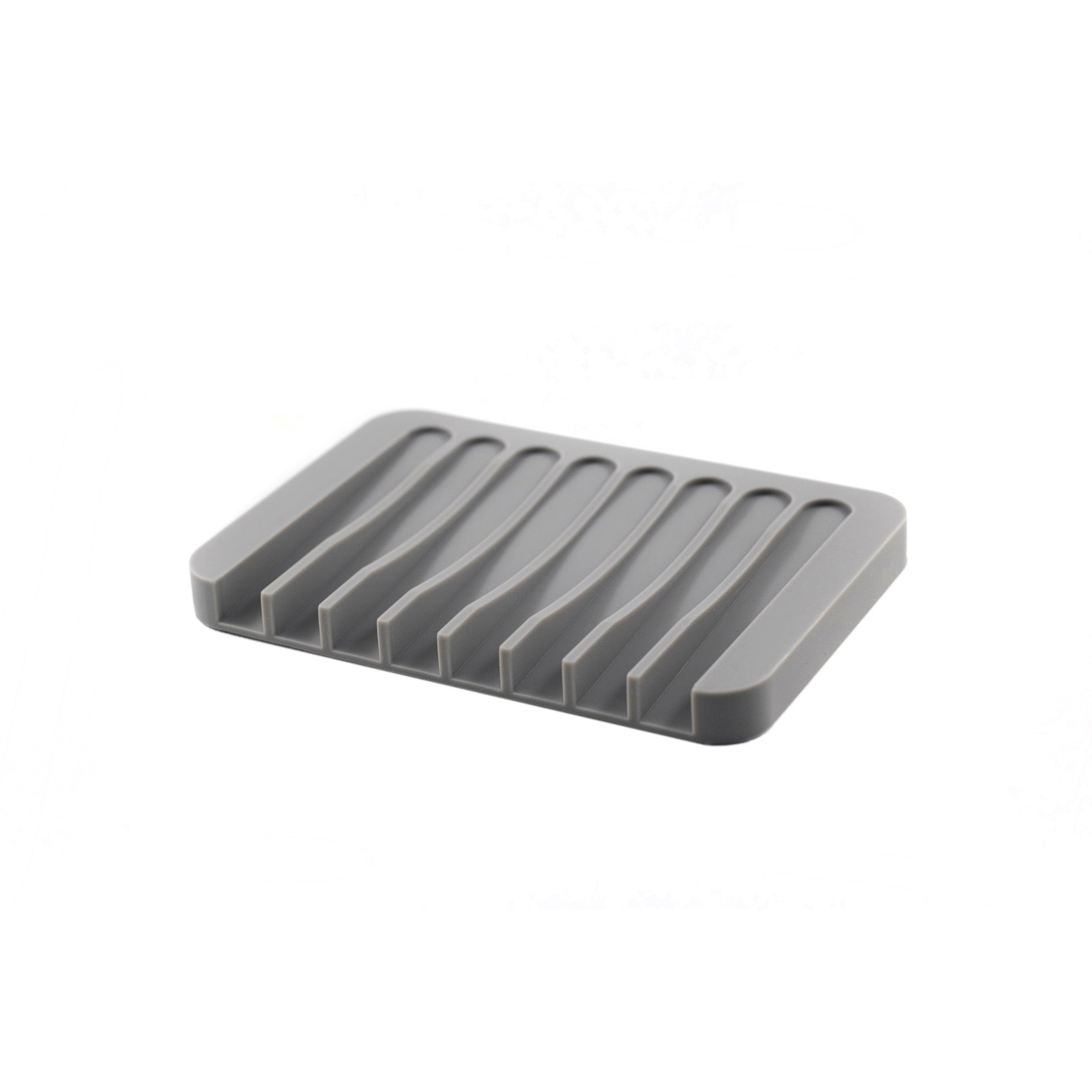 A light grey raised and grooved silicone soap dish
