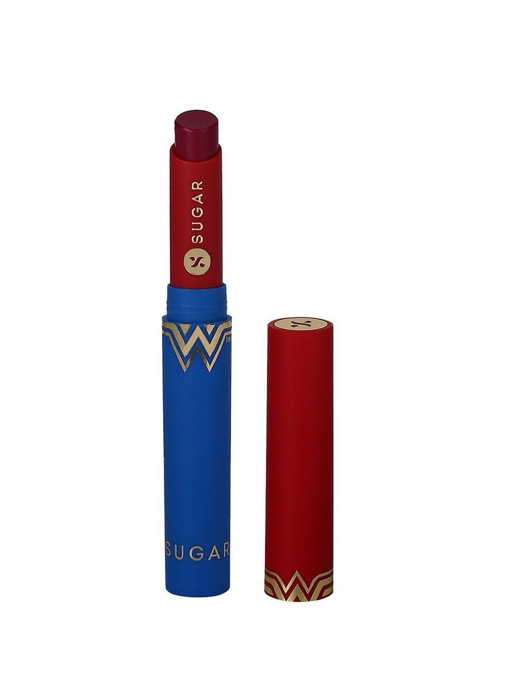 SUGAR Cosmetics Wonder Woman Creamy Matte Lipstick - 03 Crime Fighter (Berry Pink)