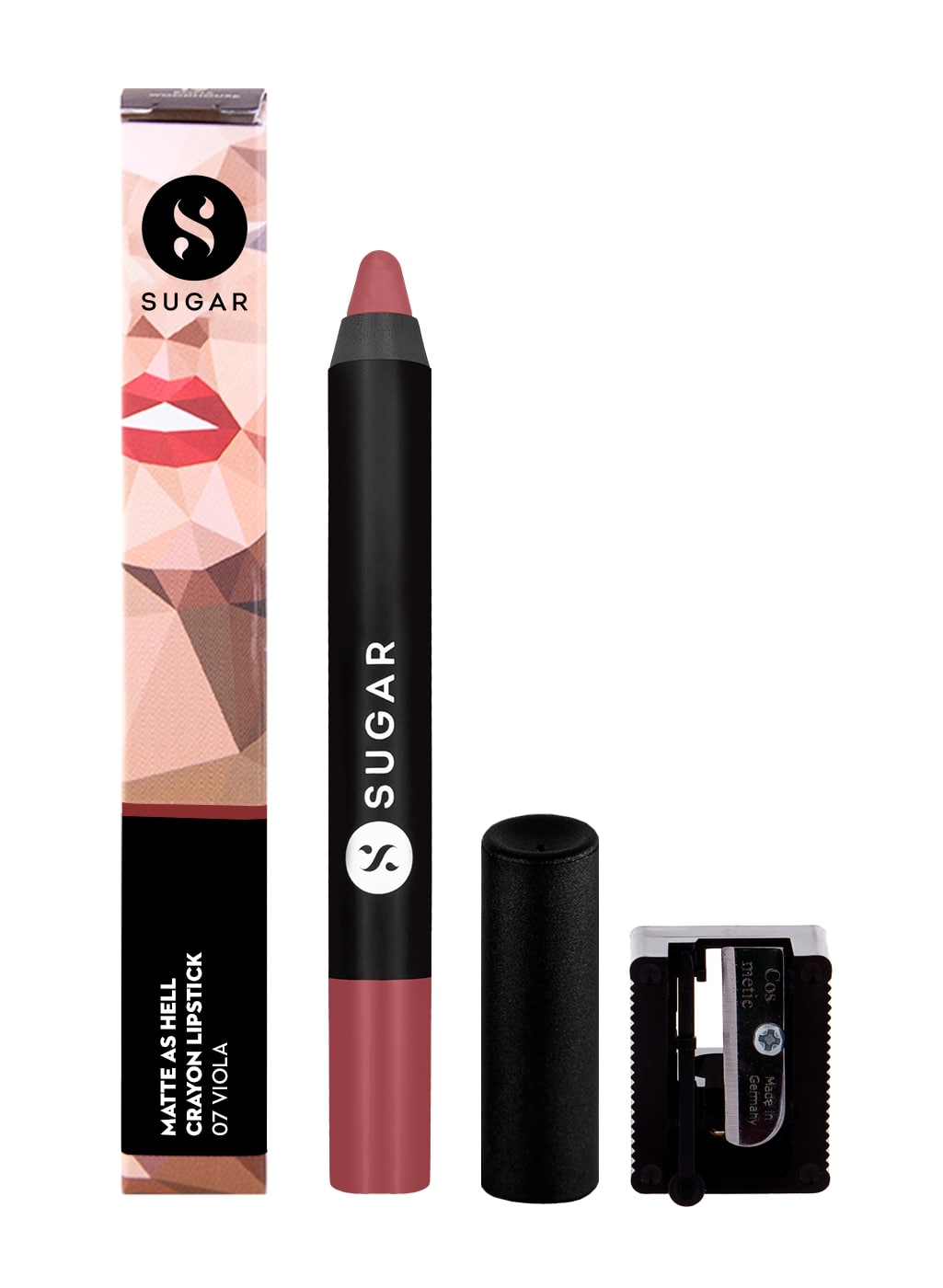 SUGAR Cosmetics Matte As Hell Mini Crayon Lipstick - 07 Viola (Mauve Nude)