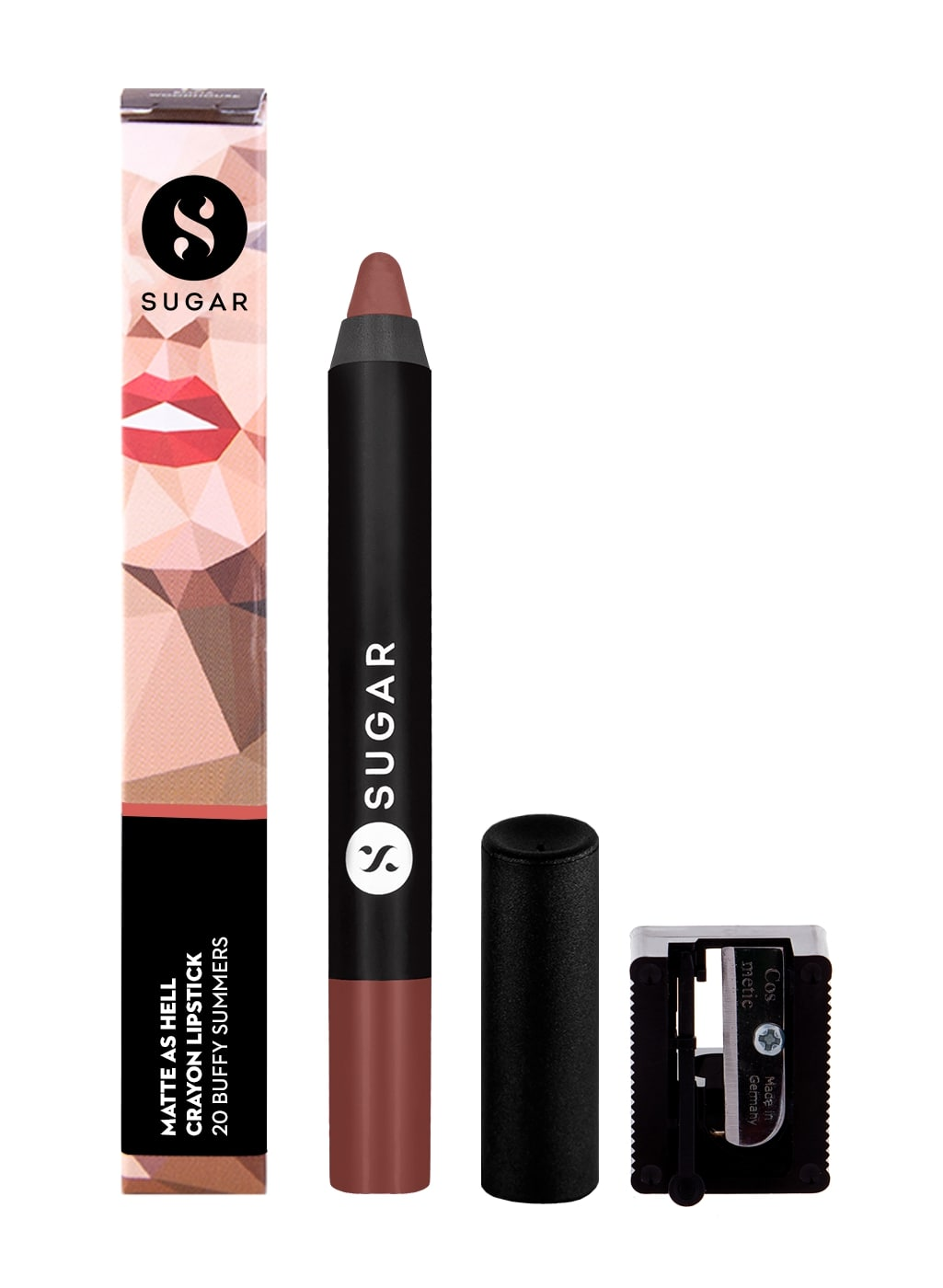 SUGAR Matte As Hell Crayon Lipstick - 20 Buffy Summers (Mid-tone Warm Nude)