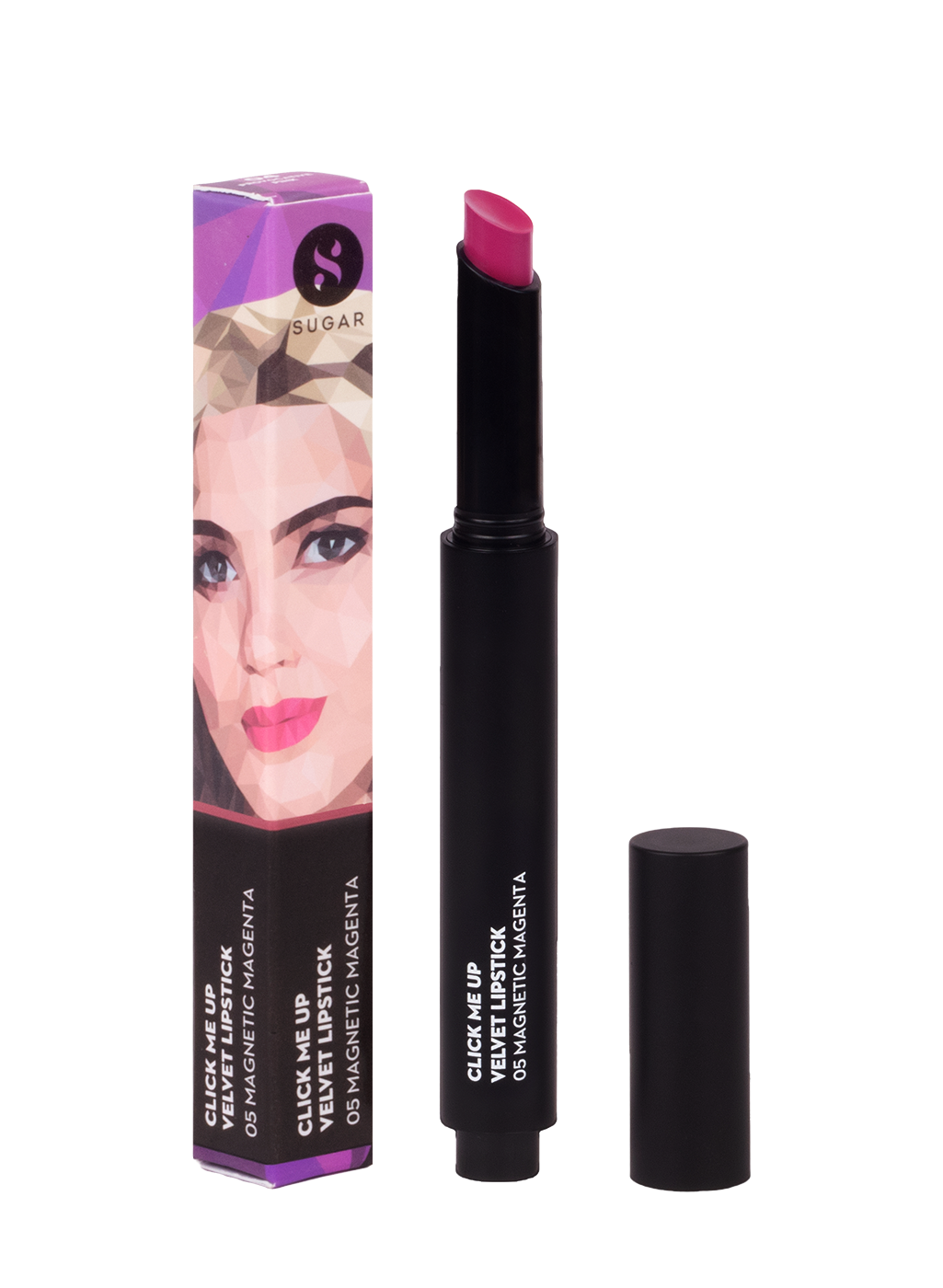SUGAR Click Me Up Velvet Lipstick - 05 Magnetic Magenta (Deep Fuchsia Pink)