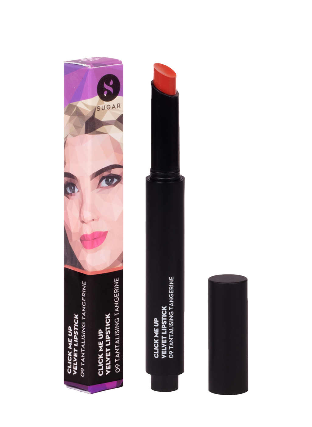 SUGAR Click Me Up Velvet Lipstick - 09 Tantalising Tangerine (Bright Orange with Hints of Red)