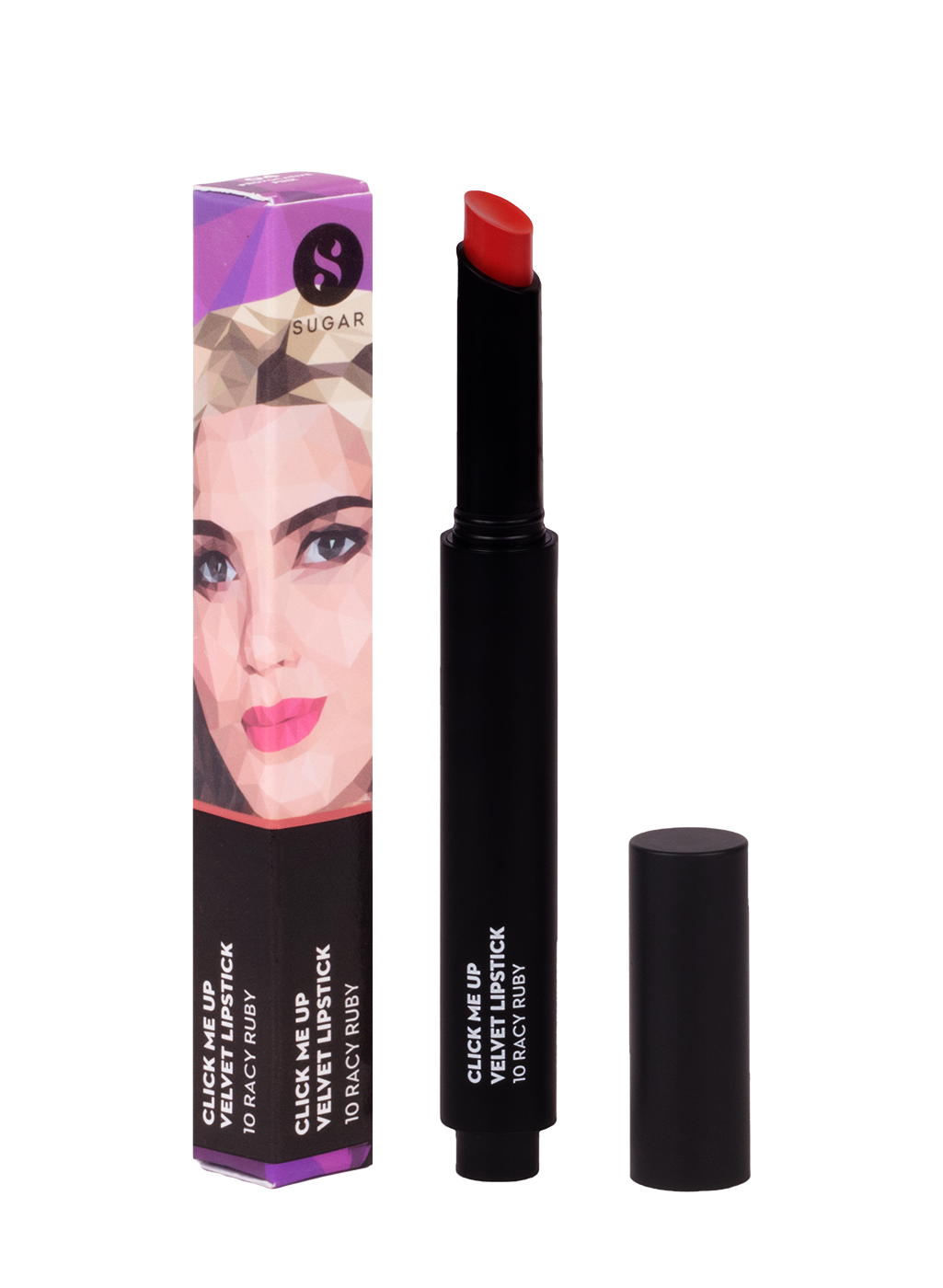 SUGAR Click Me Up Velvet Lipstick - 10 Racy Ruby (Bright Red)