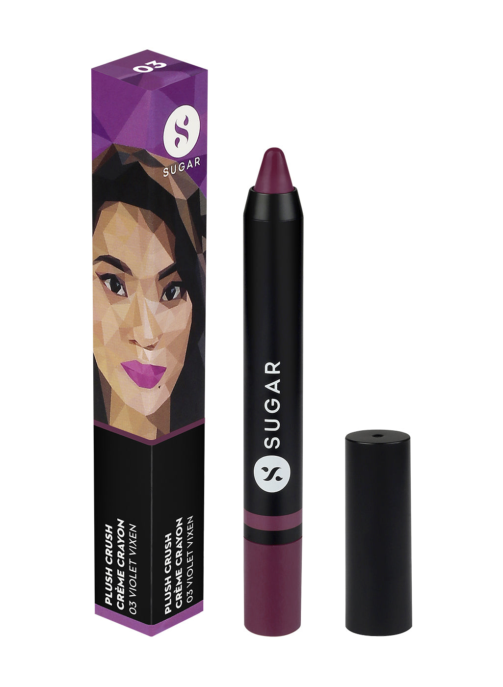 SUGAR Cosmetics Plush Crush Crème Crayon - 03 Violet Vixen (Warm Purple with hints of pink)