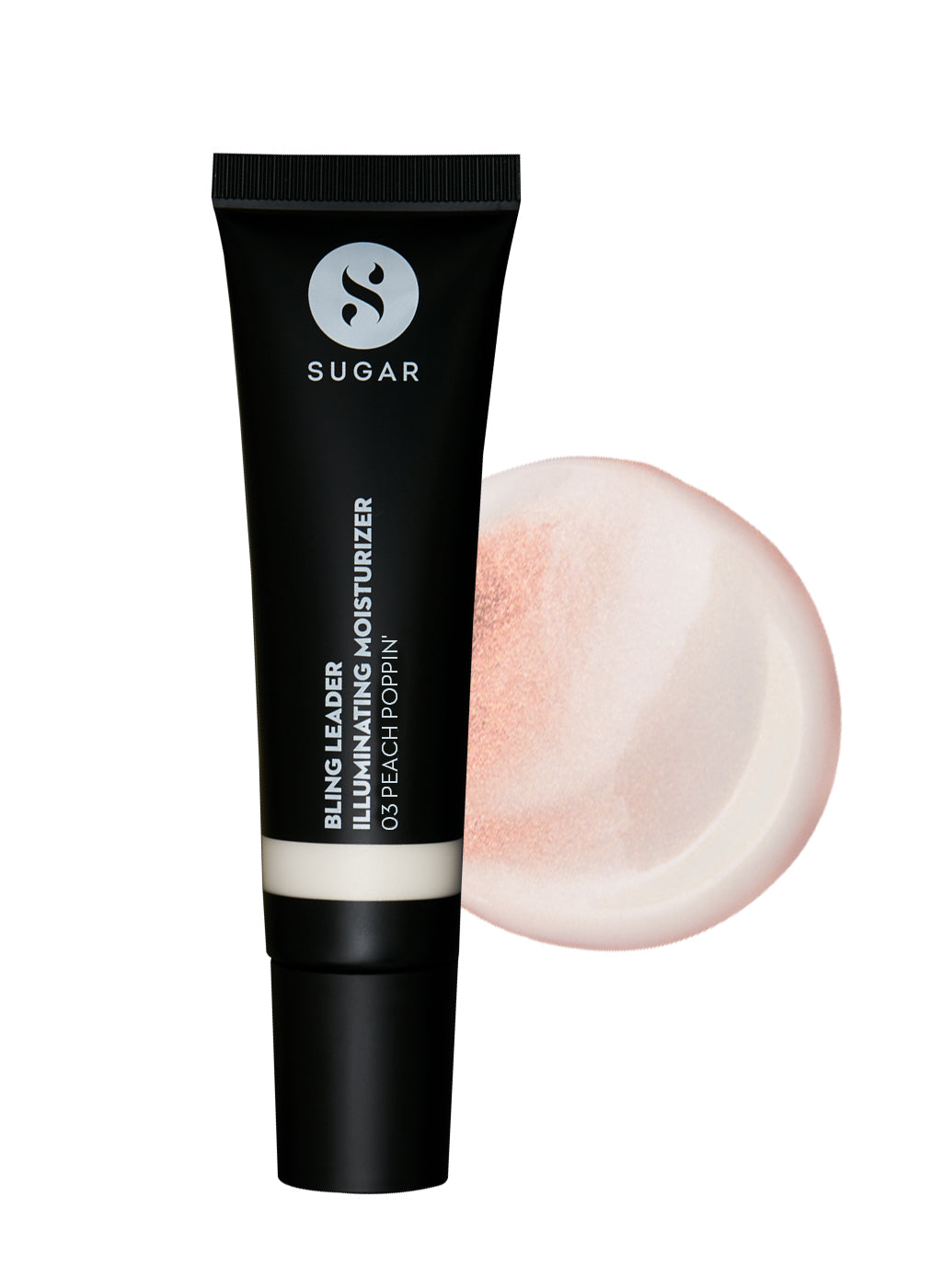 SUGAR Bling Leader Illuminating Moisturizer - 03 Peach Poppin' - Warm peach with a pearl finish