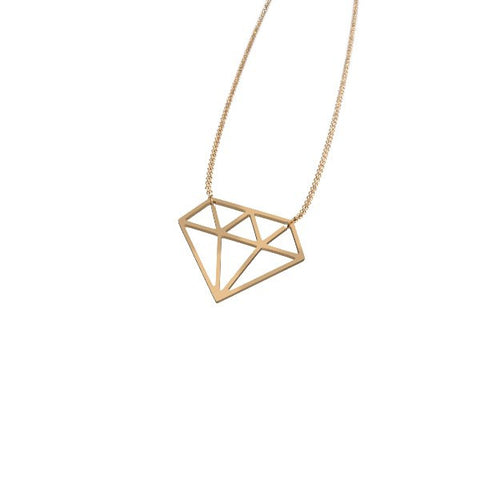 2D Diamond Pendant Necklace