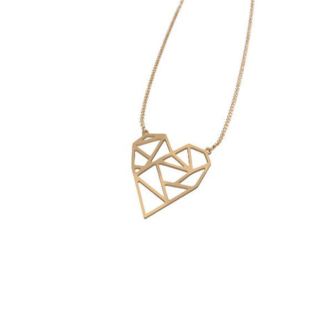 Geometric Heart Pendant Necklace