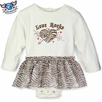 Love Rocks Zebra Tutu Skirted Bodysuit