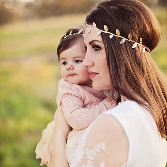 Mom and Baby Olive Branch Gold Headbands
