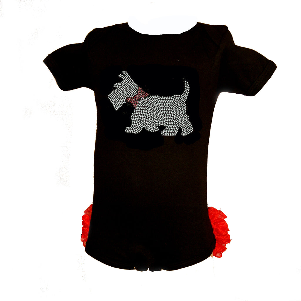 Christmas Scottie Dog Black Infant Bodysuit with Red Ruffles