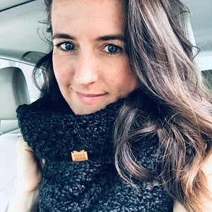 Emily Diehl wearing the Fierce Stitch Signature Infinity Scarf in Onyx