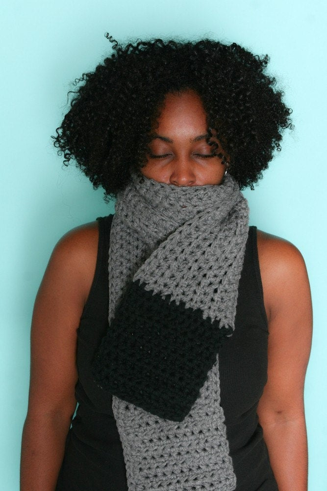 Grey & Black Traditional Scarf