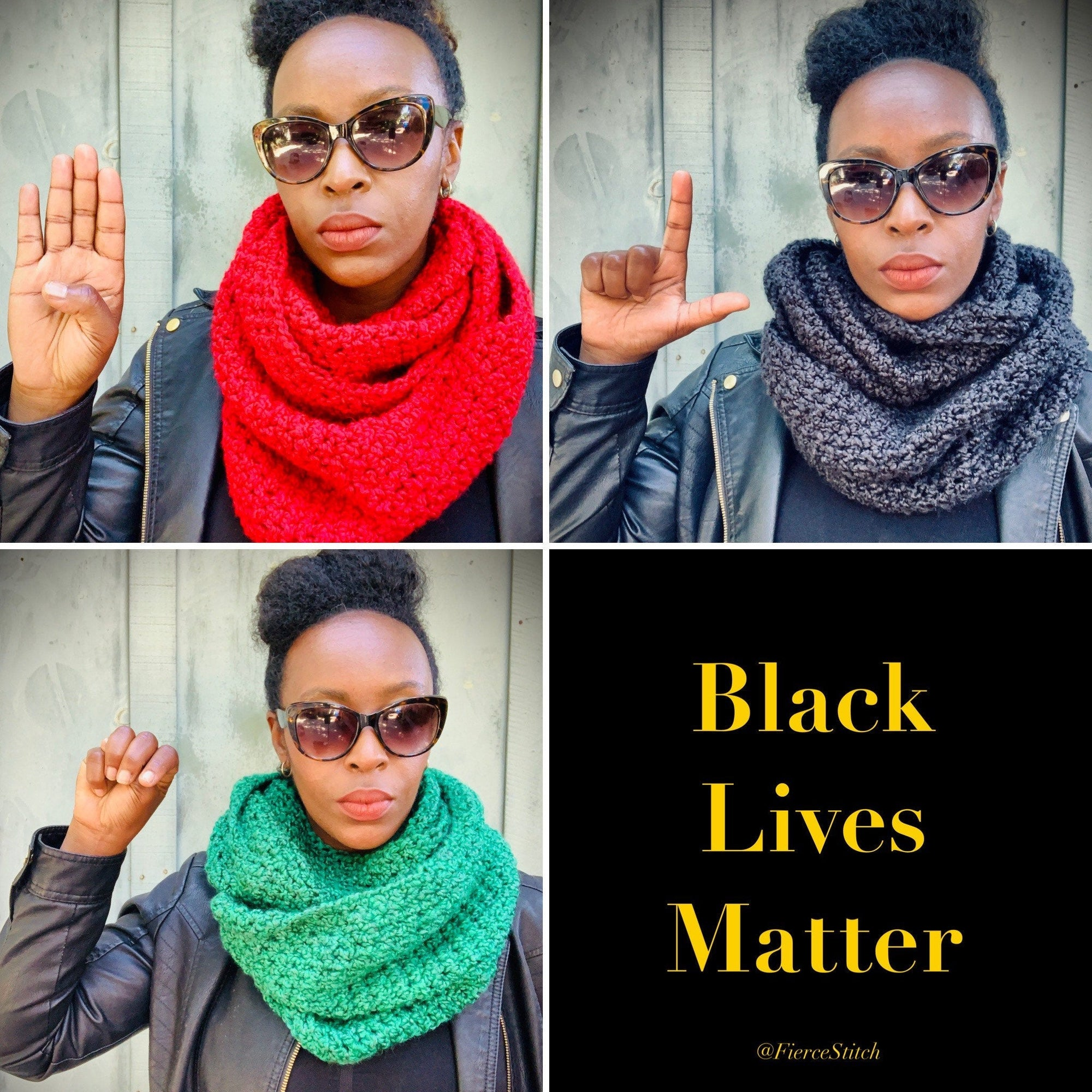 RED + BLACK + GREEN | Signature Series Infinity Scarf - Fundraiser for Black Lives Matter