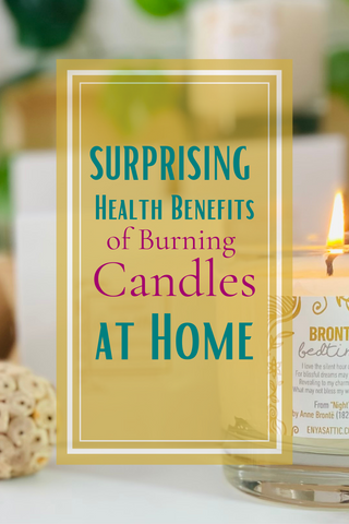 """An elegant candle burns in the background while text on a faded gold text box reads """"Surprising Benefits of Burning Candles at Home"""""""
