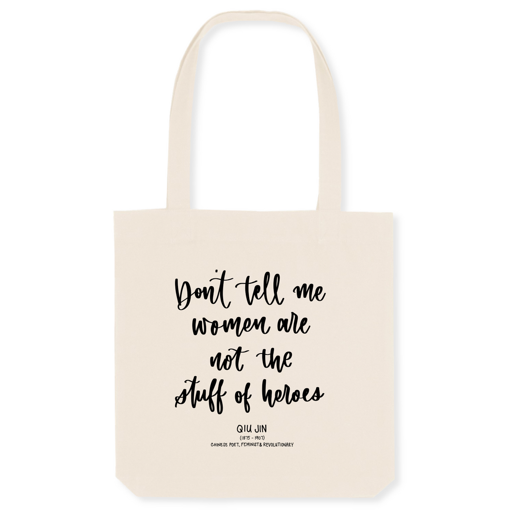 100% organic material tote bag with stylish rebel woman quote great gift for women